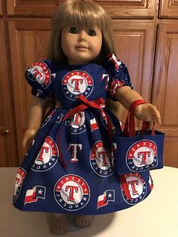 "18"" Doll Clothes Texas Rangers Baseball  Dress & Tote Bag"