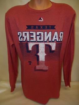 "3520 MENS Majestic TEXAS RANGERS ""Team Logo Long Sleeves Bas"