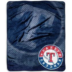 MLB Texas Rangers Retro Royal Plush Raschel Throw Blanket, 5