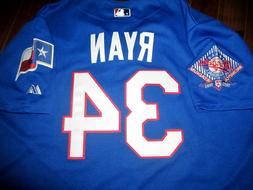 Brand New!Texas Rangers #34 Nolan Ryan Majestic Dual patch s