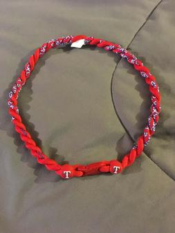 "Kid's TEXAS RANGERS Red 18"" Titanium Double Rope Youth NECKL"