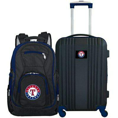 texas rangers 2 piece luggage and backpack