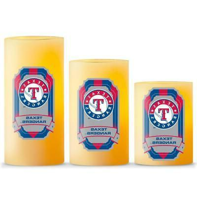 texas rangers led light candle 3 piece