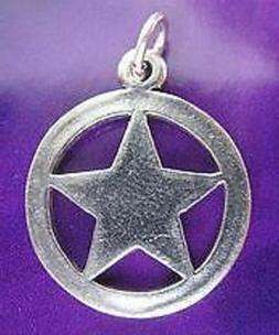 LOOK 2717 Texas Rangers Badge Silver Charm Sheriff cowboy