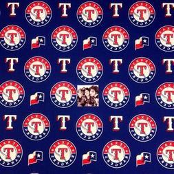 MLB Baseball Texas Rangers Logos Blue 18x29 Cotton Fabric Fa