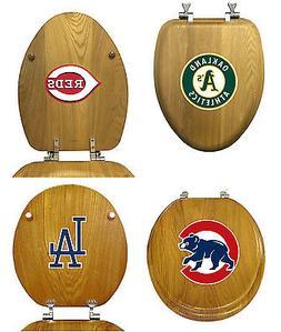 mlb team logo oak finish wood round