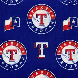 MLB Texas Rangers 100% Cotton/Broadcloth Material/Fabric 1/2