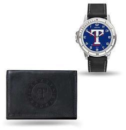 MLB Texas Rangers Black Faux Leather Watch & Wallet Set