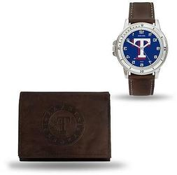 MLB Texas Rangers Brown Faux Leather Watch & Wallet Set