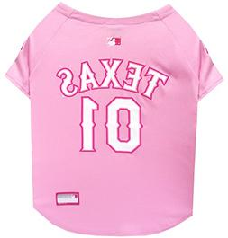 Pets First MLB Texas Rangers Dog Jersey, Large, Pink
