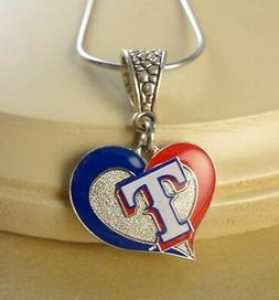 "MLB ""TEXAS RANGERS"" HEART PENDANT AMINCO W/ STEEL NECKLACE S"