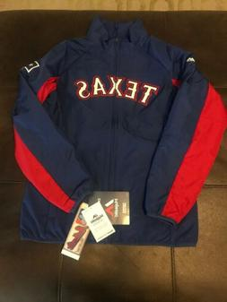 MLB Texas Rangers Jacket Size Medium Majestic Double Climate