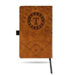 MLB Texas Rangers Laser Engraved Leather Notebook - Brown