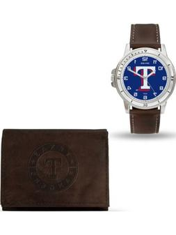 MLB Texas Rangers Leather Watch/Wallet Set by Rico Industrie