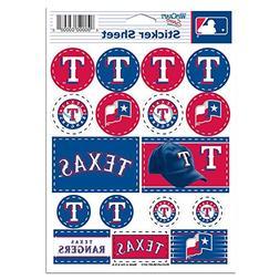 "MLB Texas Rangers Vinyl Sticker Sheet, 5"" x 7"""