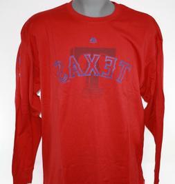NEW Mens Majestic MLB Texas Rangers Red Logo Baseball Long S