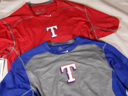 New Mens Nike Pro HyperCool Fitted SS 3/4 MLB Texas Rangers
