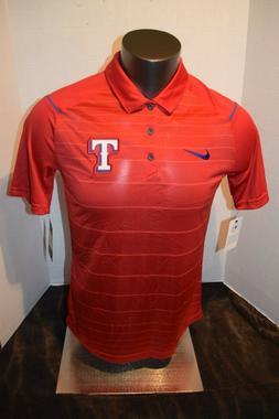 NEW Nike Texas Rangers - Red Striped Dri-Fit Polo Shirt Men'
