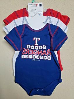 *NWT- MLB - BABY BOY'S TEXAS RANGERS 3-PC BODYSUITS SET- OFF