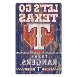 Texas Rangers 11x17 Wood Sign Slogan Design MLB Wall Banner