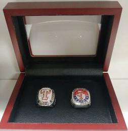 Texas Rangers - 2010, 2011 AL Championship 2 Ring Set W Wood