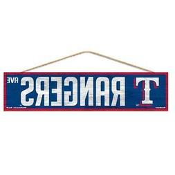 "Texas Rangers 4""x17"" Wood Sign Avenue Design  MLB Street Ban"