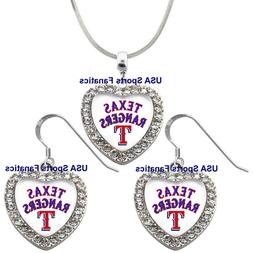 Texas Rangers 925 Necklace / Earrings or Set Team Heart With