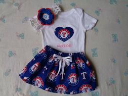 Texas Rangers Baby Girl Skirt, Personalized Bodysuit and Hea