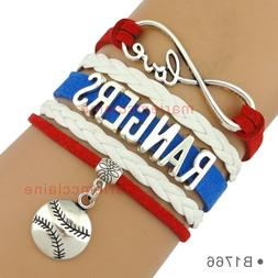 Texas Rangers Leather Baseball Bracelet Charm Quality Fast S