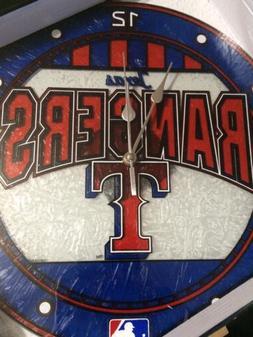 "Texas Rangers Baseball MLB Art Wall Glass Clock 12"" Man Cave"