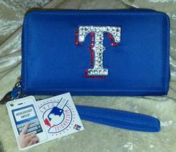 Texas Rangers Bling Wristlet Cell Phone Wallet Rhinestone ML