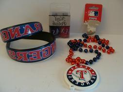 Texas Rangers bundle: headbands, necklace, nail polish
