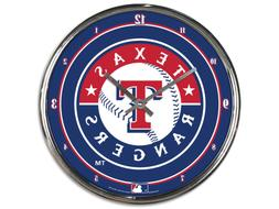 "TEXAS RANGERS CHROME 12"" ROUND WALL CLOCK MLB BASEBALL MAN C"