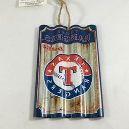 Texas Rangers Corrugated Metal Ornament MLB Baseball