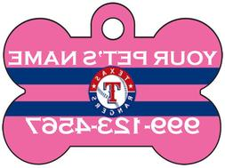 Texas Rangers Custom Pink Pet Id Dog Tag Personalized w/ Nam