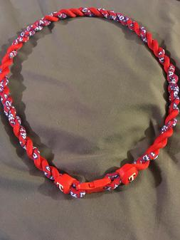 "TEXAS RANGERS Double Rope Team Titanium Red Necklace 22"" FAS"