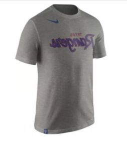 Nike Texas Rangers Dri Fit Script Slub Heather Gray T Shirt