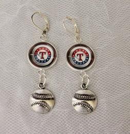 Texas Rangers Earrings w/Baseball Charm Upcycled from Baseba