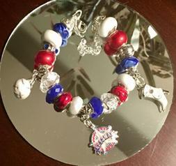 Texas Rangers - European Inspired Charm Bracelet - MLB