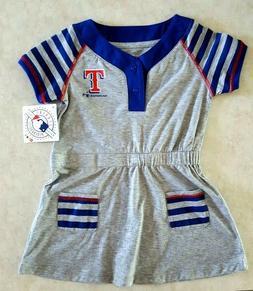 Texas Rangers Infant T Shirt Dress Size 4T Gray Blue Striped