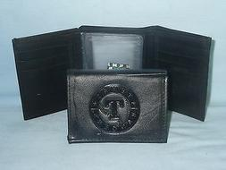 TEXAS RANGERS    Leather TriFold Wallet    NEW    black 3 sb