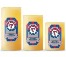 Texas Rangers LED Light Candle 3 Piece Set MLB Vanilla Autom