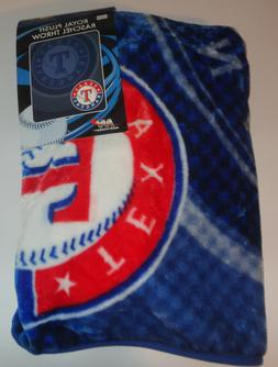 "TEXAS RANGERS Logo MLB Royal PLUSH RASCHEL Soft Throw 50""x60"