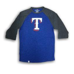 Texas Rangers Men's Majestic Blue/Dark Gray 3/4's Sleeve New