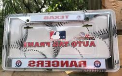 Texas Rangers Metal Chrome License Plate Tag Frame Cover Bas