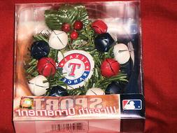 Texas Rangers Mini 3 inch Wreath Holiday Ornament with bells
