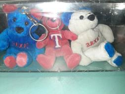 Texas Rangers Mini Bear Keychains set of 3 - MLB in hard pla