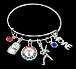 Texas Rangers MLB Baseball Charm Silver Bracelet