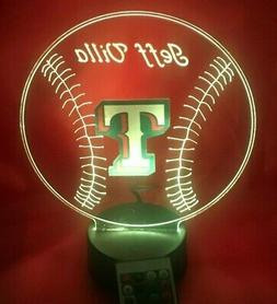 Texas Rangers MLB Baseball Light Up Lamp LED Light With Remo
