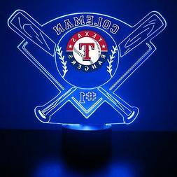 Texas Rangers Night Light, MLB Baseball LED Sports Fan Lamp,